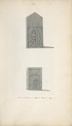 Two carved stones. 'Ancient sculptures at Agnoor March 1797.' Copies of WD1062, f.18